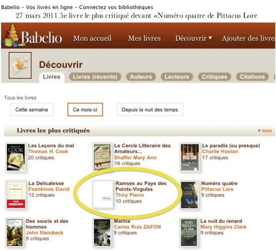 27 mars 2011 5e livre le plus critiqué du mois