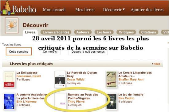 Les six livres les plus critiqués de la semaine sur Babelio (28 avril 2011)