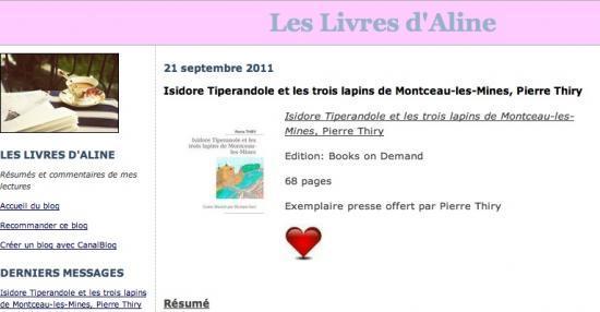 Les livres d'Aline a eu un coup de coeur pour «Isidore Tiperanole et les trois lapins de Montceau-les-Mines»