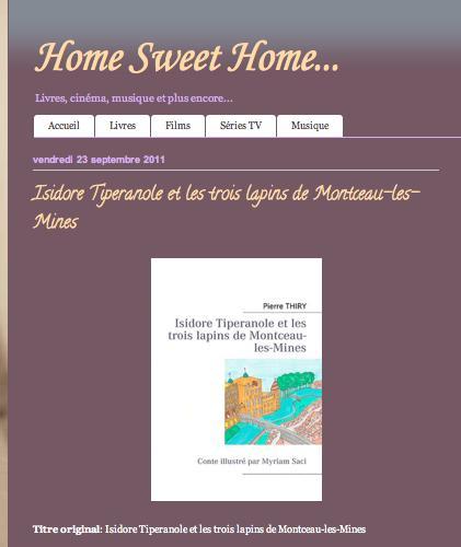 """Home Sweet Home vous recommande """"Isidore Tiperanole et les trois lapins de Montceau-les-Mines"""""""