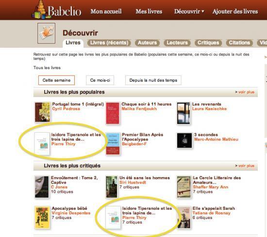 Isidore TIperanole : Buzz sur Babelio (24 Septembre 2011)