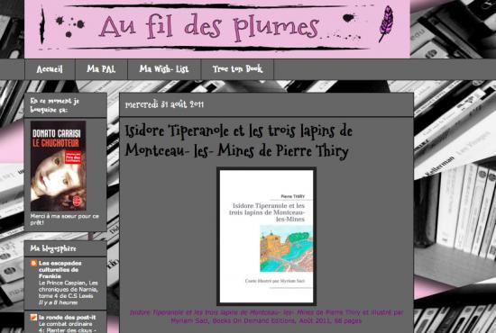 """Au fil des plumes à lu """"Isidore Tiperanole et les trois lapins de Montceau-les-Mines"""