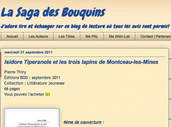 "La Saga des Bouquins a lu ""isidore Tiperanole...""'"