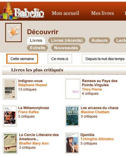Livres les plus critiqués sur Babelio 1ere semaine janvier 2011